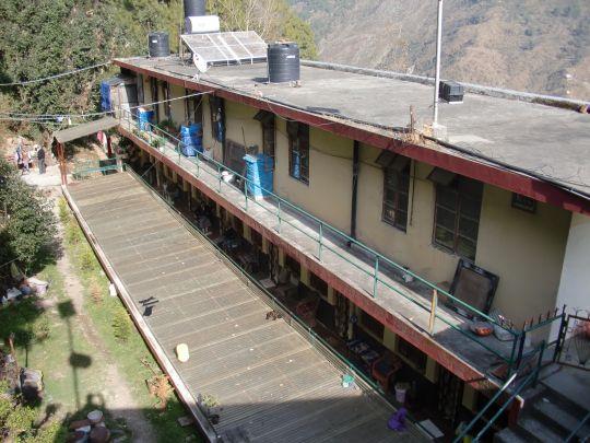 Modest accommodation for elderly Tibetan refugees in Dharamsala.
