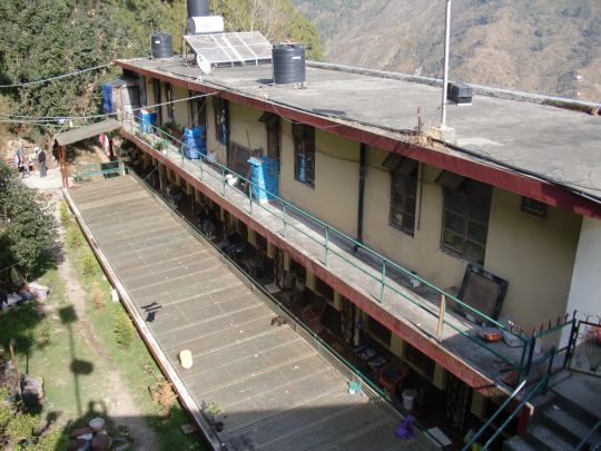 Modest accommodation for elderly Tibetan refugees in Dharamsala.