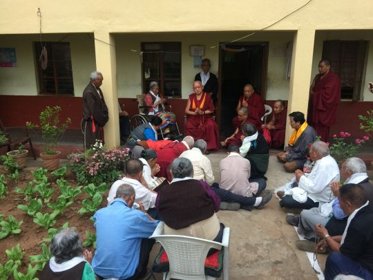 Lama Zopa Rinpoche offering prayer and blessings for the residents of Hunsur Old Aged Home.