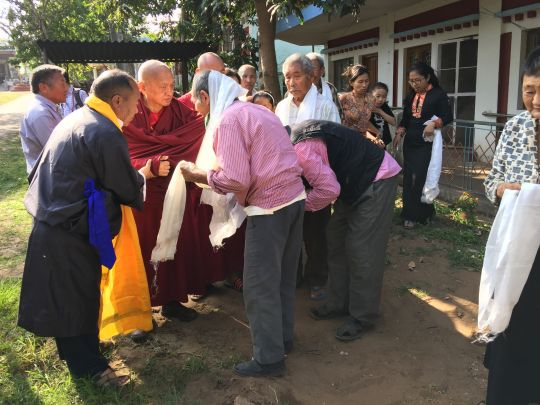 Lama Zopa Rinpoche visiting Lugsam Samduling Tibetan Settlement in Bylakuppe.