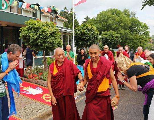 Lama Zopa Rinpoche with attendant Ven. Sangpo Sherpa at Maitreya Instituut Loenen, July 2015.  Photo by Ven. Thubten Kunsang.