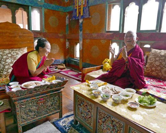 Lama Zopa Rinpoche and Khadro-la enjoying lunch together in Bhutan, May 2016. Photo by Ven. Roger Kunsang.