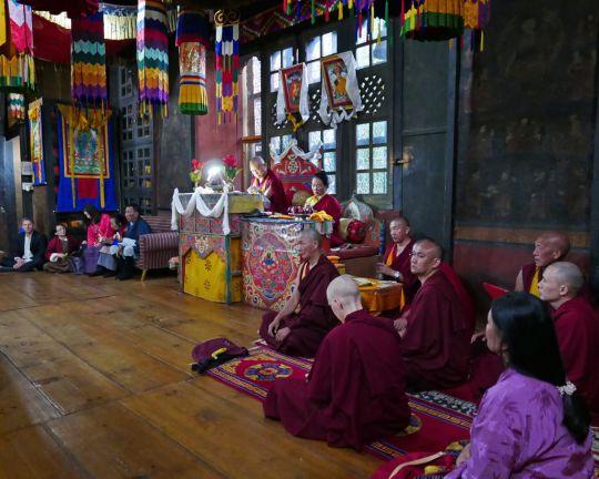 Rinpoche and Khadro-la doing tsog at Kyichu Lhakhang, Bhutan, May 2016. Photo by Ven. Roger Kunsang.