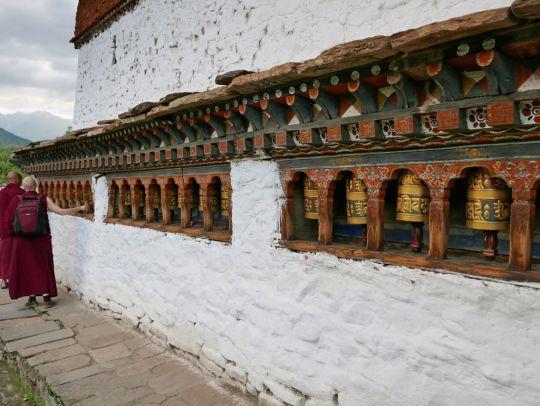 Prayer wheels at at Kyichu Lhakhang, Bhutan, May 2016. Photo by Ven. Roger Kunsang.