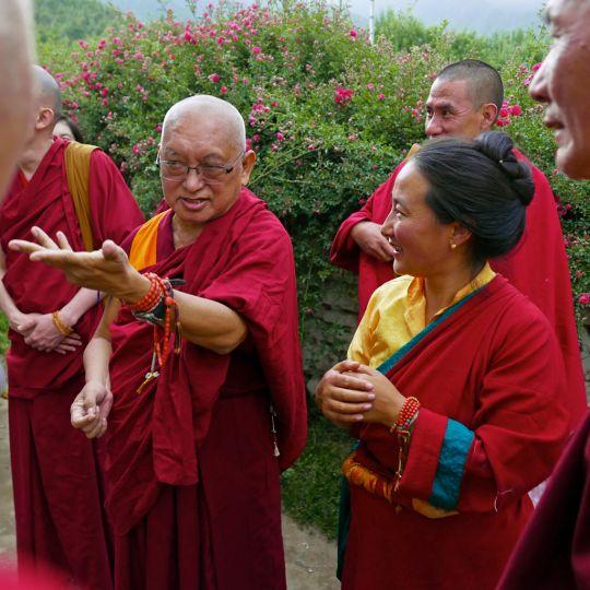Rinpoche and Khadro-la at Kyichu Lhakhang, Bhutan, May 2016. Photo by Ven. Roger Kunsang.