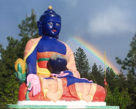 Medicine Buddha statue at Buddha Amitabha Pure Land, Washington, USA.