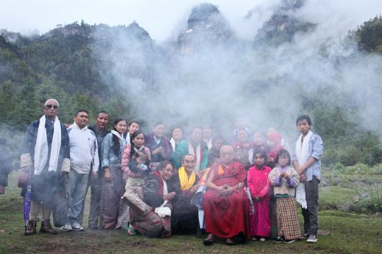 Several local Bhutanese came to greet Lama Zopa Rinpoche when he returned from attempting to visit Taktsang Senge Samdup cave, Bhutan, May 2016. Photo by Ven. Lobsang Sherab.