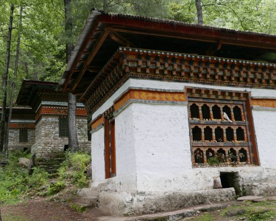 On the path to Tiger's Nest Monastery, pray wheel houses such as these utilize the stream's current to help the wheels continually spin while blessing the water itself, Bhutan, May 2016. Photo by Ven. Roger Kunsang.