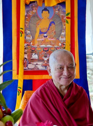 Lama Zopa Rinpoche, Paro, Bhutan, May 2016. Photo by Ven. Roger Kunsang.