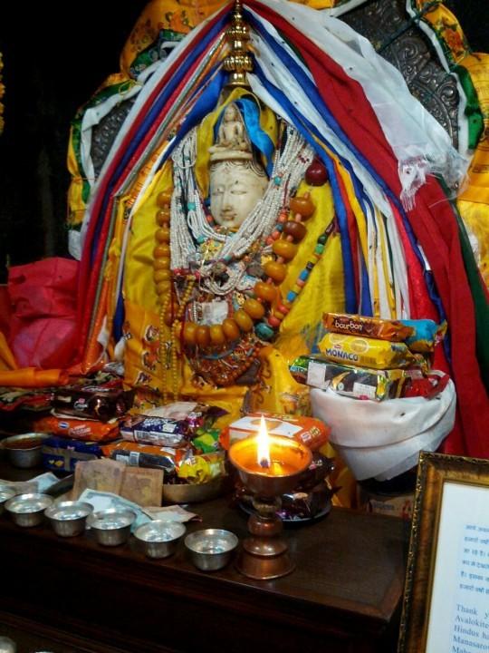 Self-emanating statue of Chenrezig said to be the actual deity itself in Phakpa, Garsha Khandroling, India.