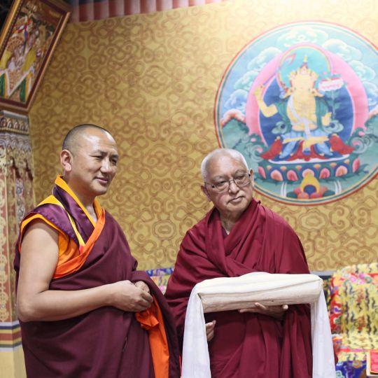 Lama Zopa Rinpoche with AbbottLopenSangayDorjiat Tashichö Dzong,  Thimphu, Bhutan, June 2016. Photo by Ven. Lobsang Sherab.