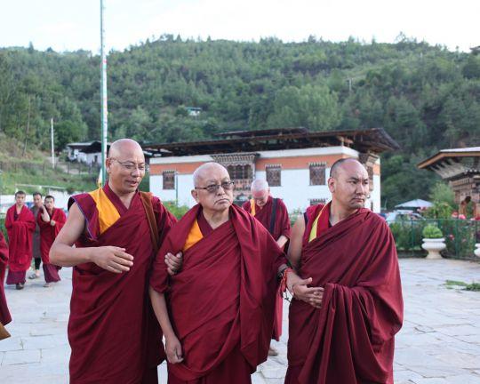 Lama Zopa Rinpoche visiting Simtokha Dzong with GesheTenzinKhenrab and Ven. Thubten Tendar, Thimphu, Bhutan, June 2016. Photo by Ven. Lobsang Sherab.