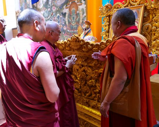 Lama Zopa Rinpoche touring the inside of the Buddha Dordenma statue, Thimphu, Bhutan, June 2016. Photo by Ven. Roger Kunsang.