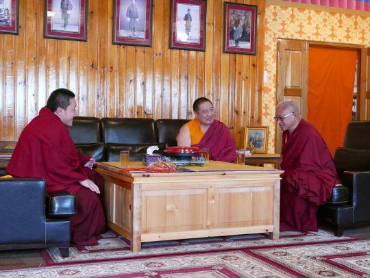 Lama Zopa RinpochewithDilgoKhyentseYangsiRinpocheandShechen RabjamRinpocheatSatsamChorten, Bhutan, June 2016. Photo by Ven. Roger Kunsang.