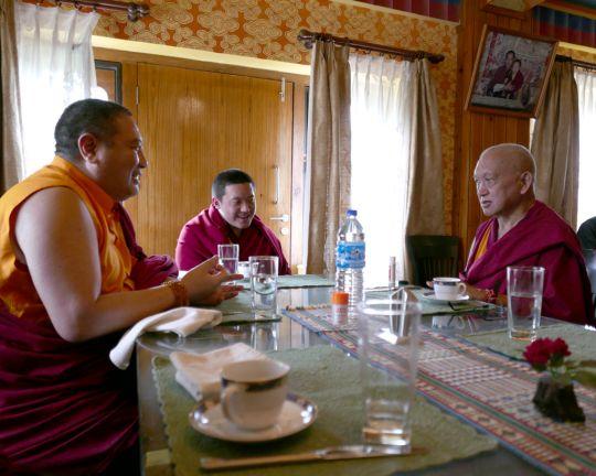 Lama Zopa Rinpochehaving lunch with DilgoKhyentseYangsiRinpocheandRabjamRinpocheatSatsamChorten, Bhutan, June 2016. Photo by Ven. Roger Kunsang.