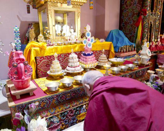 Lama Zopa Rinpoche receiving blessings from the actualskullofpastlifeDilgoKhyentseRinpoche, SatsamChorten, Bhutan, June 2016. Photo by Ven. Roger Kunsang.