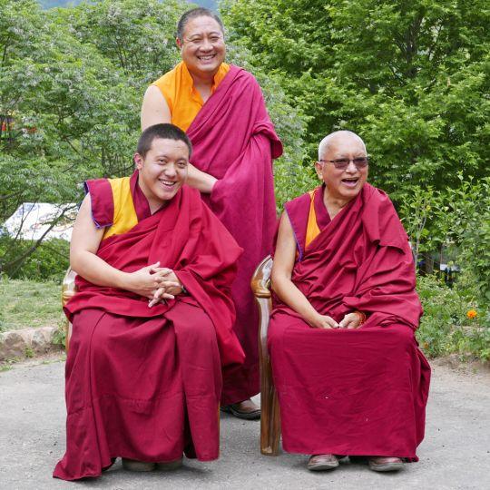 Lama Zopa RinpochewithDilgoKhyetnseYangsiRinpocheandRabjamRinpocheatSatsamChorten, Bhutan, June 2016. Photo by Ven. Roger Kunsang.