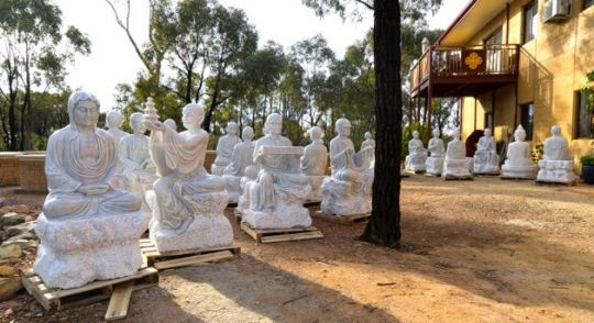 The marble statues of the 18 Arhats waiting for installation, Thubten Shedrup Ling Monastery, Myers Flat, Australia, May 2016. Photo courtesy of Thubten Shedrup Ling.