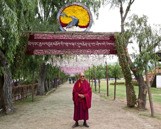 Lama Zopa Rinpoche at the flower show in Paro, Bhutan, June 2016. Photo by Ven. Roger Kunsang.