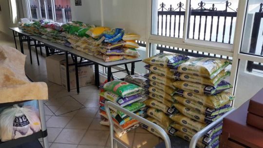 A tremendous amount of food is needed to keep so many dogs healthy.
