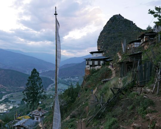 View of the tiny gompa at Draparko, which overlooks the Paro Valley, Bhutan