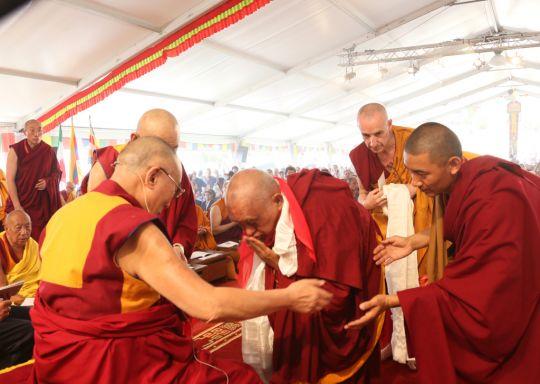 His Holiness the Dalai Lama and Lama Zopa Rinpoche, Pomaia, Italy, June 2014. Photo by Ven. Thubten Kunsang.