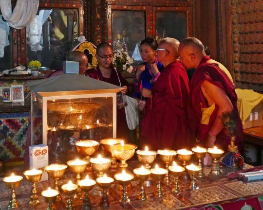 Lama Zopa Rinpoche in the Jangsarbu Lhakhang gompa, Bhutan, June 2016