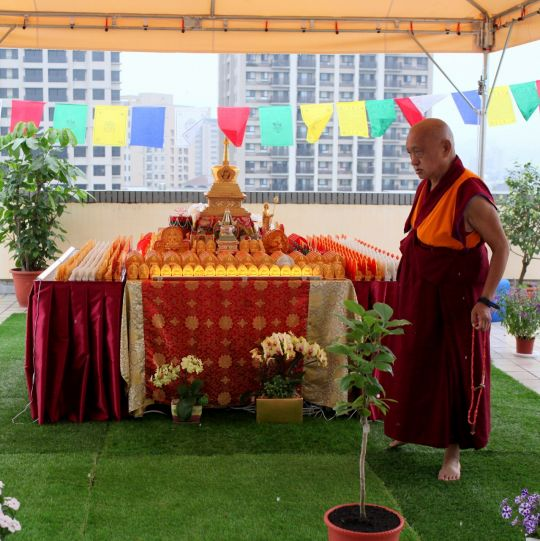 Lama Zopa Rinpoche circumambulates his rootop veranda altar, Taiwan, May 2016. Photo by Ven. Lobsang Sherab.