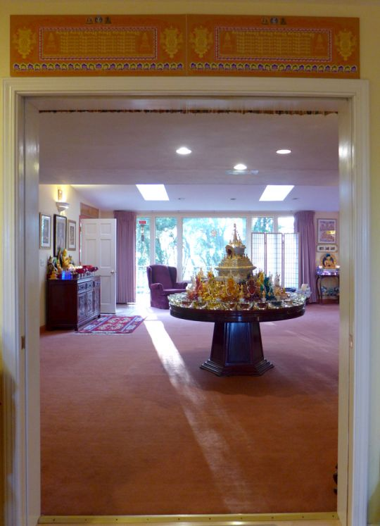 A stupa at Lama Zopa Rinpoche's house in Aptos, California, US, 2015. Rinpoche also has mantras above the doorway to bless anyone who walks through.