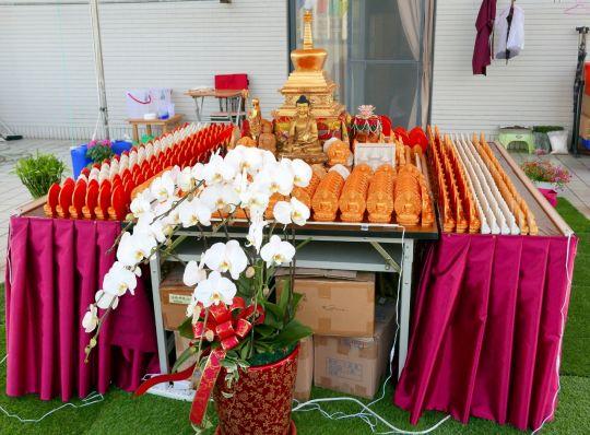 Lama Zopa Rinpoche's rootop veranda altar, Taiwan, May 2016. Photo by Ven. RogerKunsang.