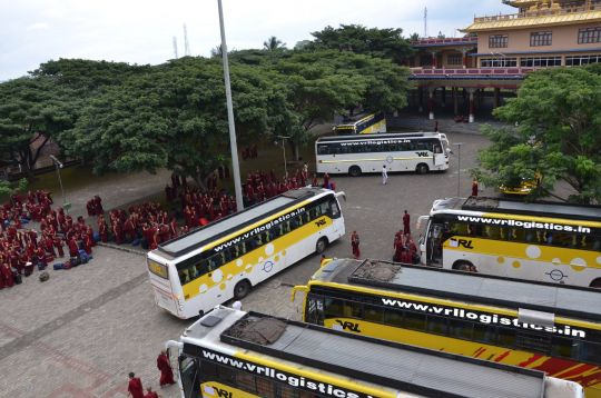 Monks from Sera, Ganden, Drepung, Gyume, Gyuto, Tashi Lhunpo and Rato monasteries arrive to participate in the annual Gelugpa Exam. Travel was provided through a grant from the Lama Tsongkhapa Teachers Fund, an extension of the Supporting Ordained Sangha Fund.