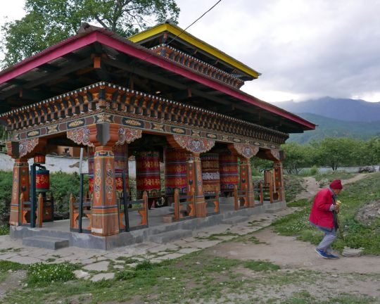 Prayer wheels at Kyichu Lhakhang, Bhutan, May 2016. Photo by Ven. Roger Kunsang.