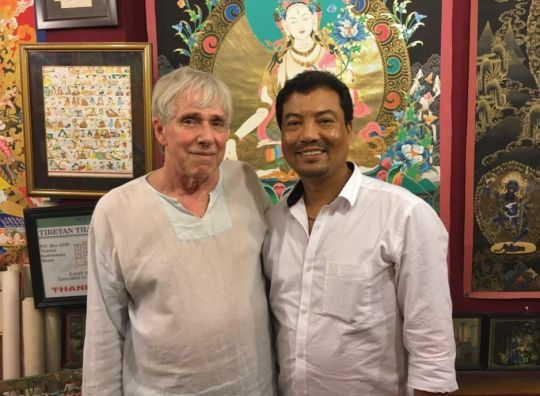 Co-owner Birendra Shahi (right) with Tibetan artist Robert Beer, Surendra's Tibetan Thanka Treasure, Kathmandu, Nepal, May 2016. Photo via Facebook (Surendra's Tibetan Thanka Treasure).