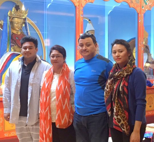 Pradip Rajbhandari (center in blue) and family visited FPMT International Office and Maitripa College's Jokhang, Portland, Oregon, US, June 2016.
