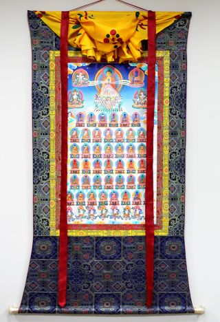 This thangka of the 35 Buddhas of Confession is painted specifically for the Foundation Store to be accurate with FPMT practice texts.