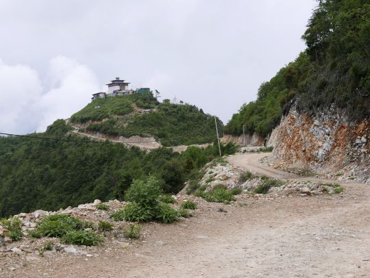 The road up to Dongkarla Lhakhang, Bhutan, June 2016. Photo by Ven. Roger Kunsang. The road was completed only a few years ago.