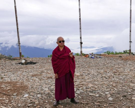 Lama Zopa Rinpoche visiting Dongkarla Lhakhang, Bhutan, June 2016. Photo by Ven. Roger Kunsang.