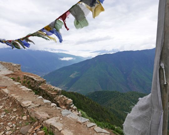 View from Dongkarla Lhakhang, elevation 11,975 (3,650 meteres), Bhutan, June 2016. Photo by Ven. Roger Kunsang.