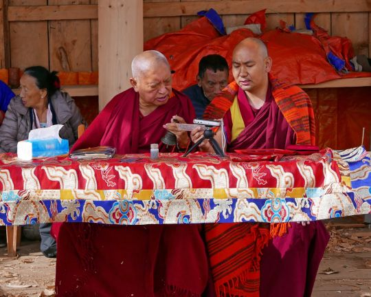 Lama Zopa Rinpoche with Ven. Thubten Tendar doing an incense puja at Dongkarla Lhakhang, Bhutan, June 2016. Photo by Ven. Roger Kunsang.