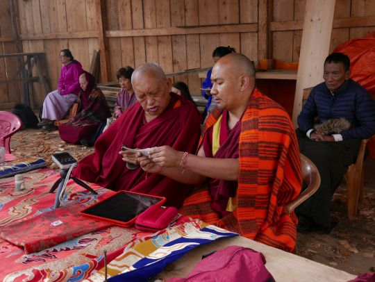 Lama Zopa Rinpoche with Ven. Thubten Tendar offering an incense puja at Dongkarla Lhakhang, Bhutan, June 2016. Photo by Ven. Roger Kunsang.
