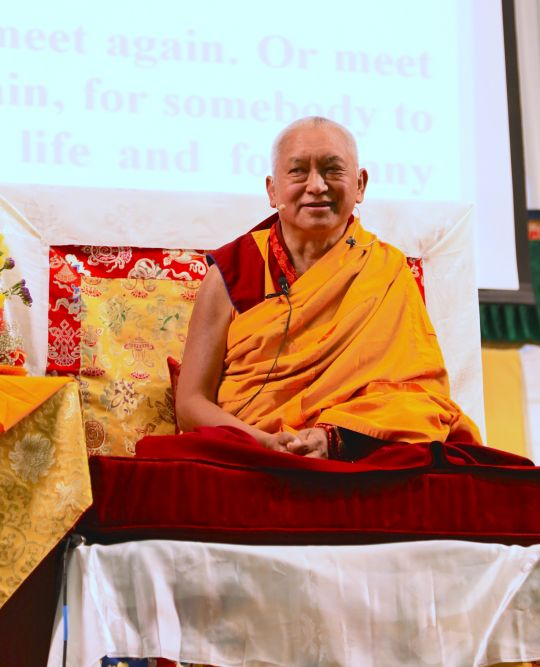 Lama Zopa Rinpoche teaching at the Light of the Path Retreat, May 2014, Black Mountain, North Carolina, US. Photo by Ven. Thubten Kunsang.