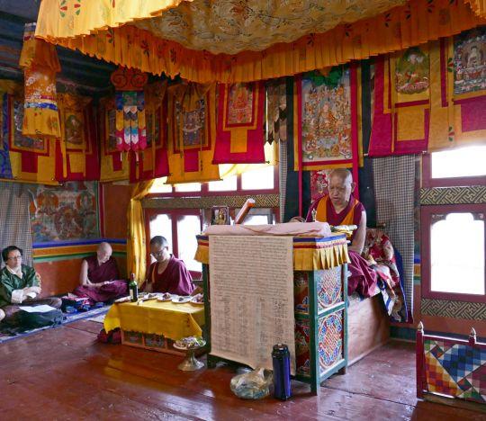 Lama Zopa Rinpoche at Dzongdrakha, Paro, Bhutan, June 2016. Photo by Ven. Roger Kunsang.