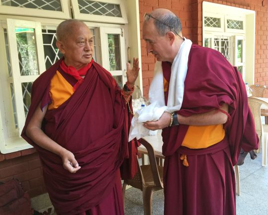 Lama Zopa Rinpoche with Ven. Thubten Kunsang, Sera Monastery, India, January 2016. Photo by Ven. Roger Kunsang.