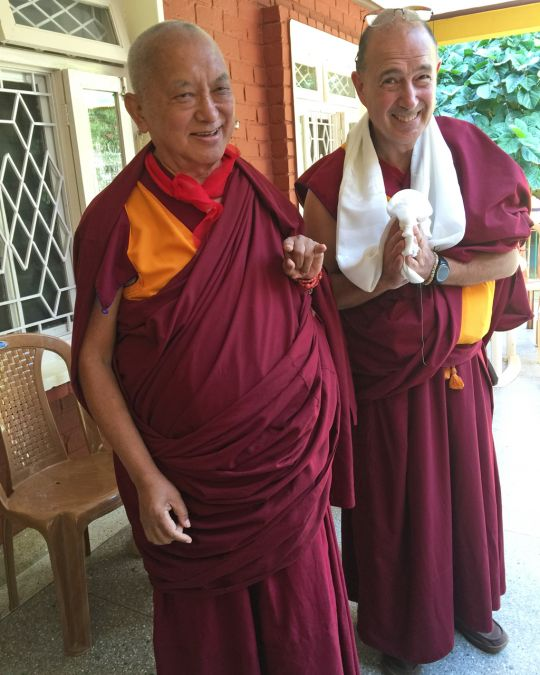 Lama Zopa Rinpoche with Ven. Thubten Kunsang, Sera Monastery, India, January 2016. Photo by Ven. Roger Kunsang.