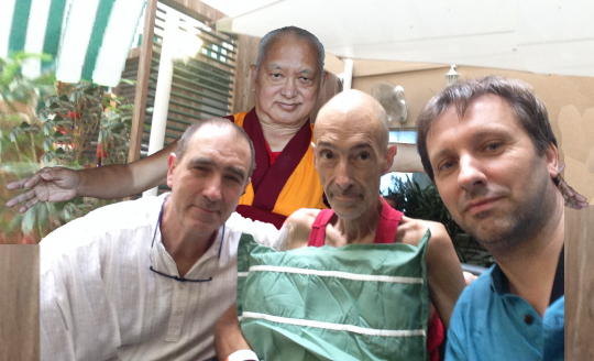 Lama Zopa Rinpoche added to a photo of Emile, Ven. Kunsang and Jean Yves, India