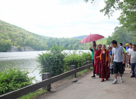 Walking next to the lake at Bear Mountain State Park, New York, July 2016. Photo by Ven. Lobsang Sherab.