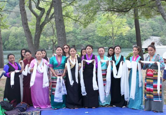 Sherpa dancers at the picnic at Bear Mountain State Park, New York, July 2016. Photo by Ven. Lobsang Sherab.