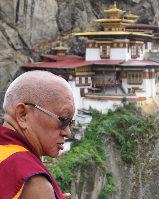 Lama Zopa Rinpoche at Taktsang (Tiger's Nest) Monastery in Bhutan, June 2016. Photo by  Damien van Effenterre.