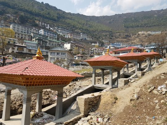 Five prayer wheels will turn from downward flowing water, blessing all the water with mantras as it passes.