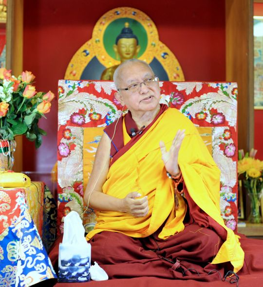Lama Zopa Rinpoche teaching at Kadampa Center in Raleigh, North Carolina, before the beginning of the Light of the Path Retreat, August 13, 2016. Photo by Ven. Lobsang Sherab.